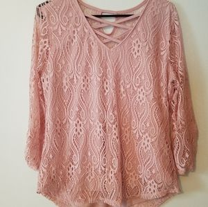 No boundaries blush pink long sleeve lace top